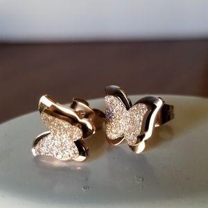 Rose Gold Colored Butterfly Earrings